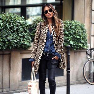 Zara Leopard Print Jacquard Coat as seen on IG 📸